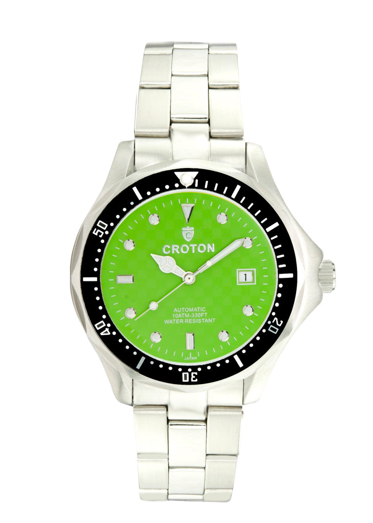 Men Stainless Steel Green Dial Automatic Watch with Magnified Date - CROTON GROUP