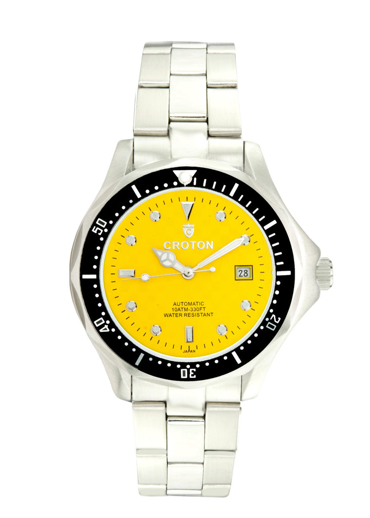 Men Stainless Steel Yellow Dial Automatic Watch with Magnified Date