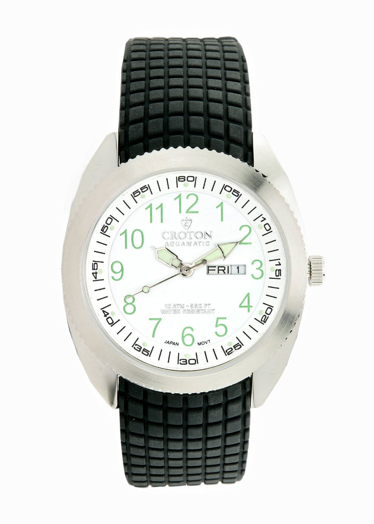 Men's Japan Quartz Stainless Steel Day/Date Watch with White Dial & Rubber Strap - CROTON GROUP