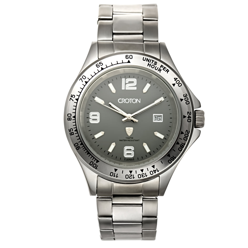 Men's All Stainless Steel Quartz Watch with Date and Tachymeter Bezel