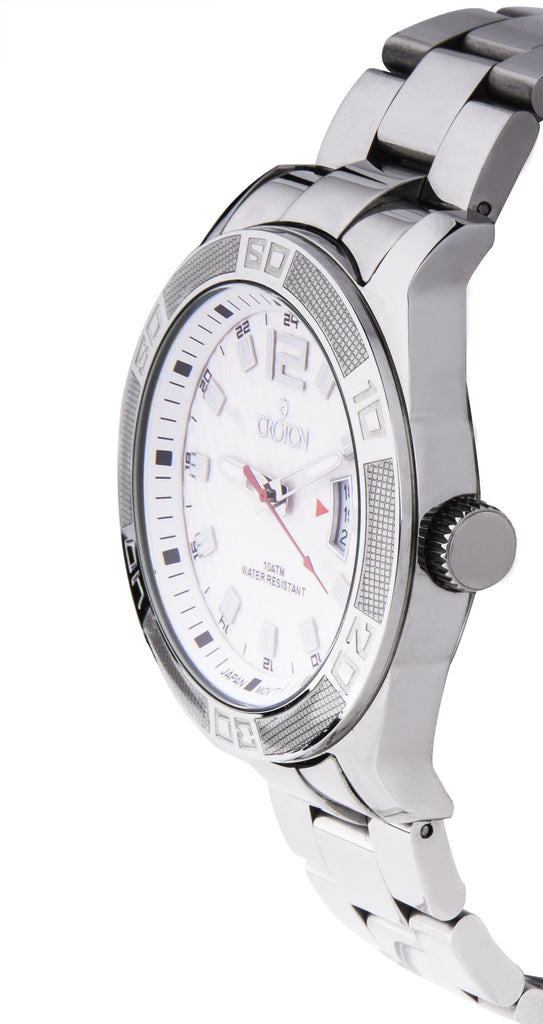 Men's All Stainless Steel White Dial Quartz Sport Watch