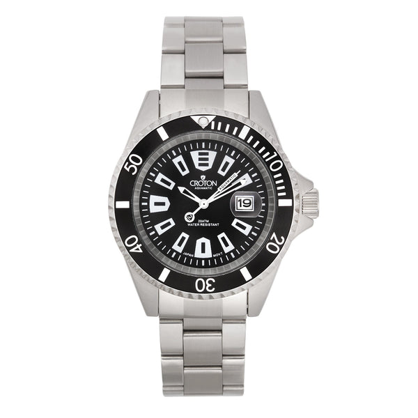 "Croton Men's ""Aquamatic""  Quartz Watch with Rotating Bezel & Magnified Date"