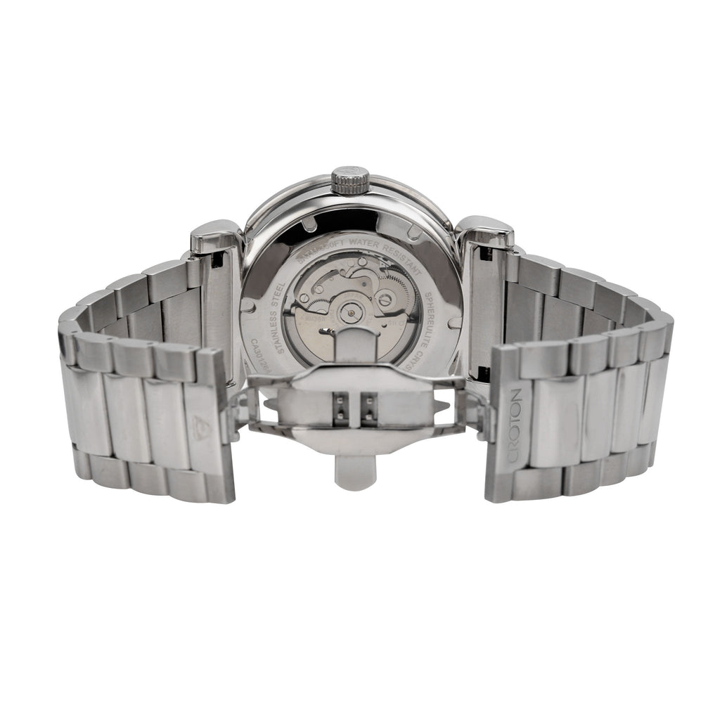 "Croton Men's ""Vortex"" Stainless Skeleton Automatic with Carbon Fiber Dial"