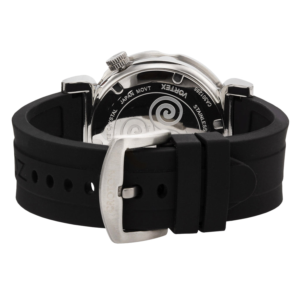 "Croton Men's ""Vortex"" Stainless Quartz Watch with Black Silicon Strap"