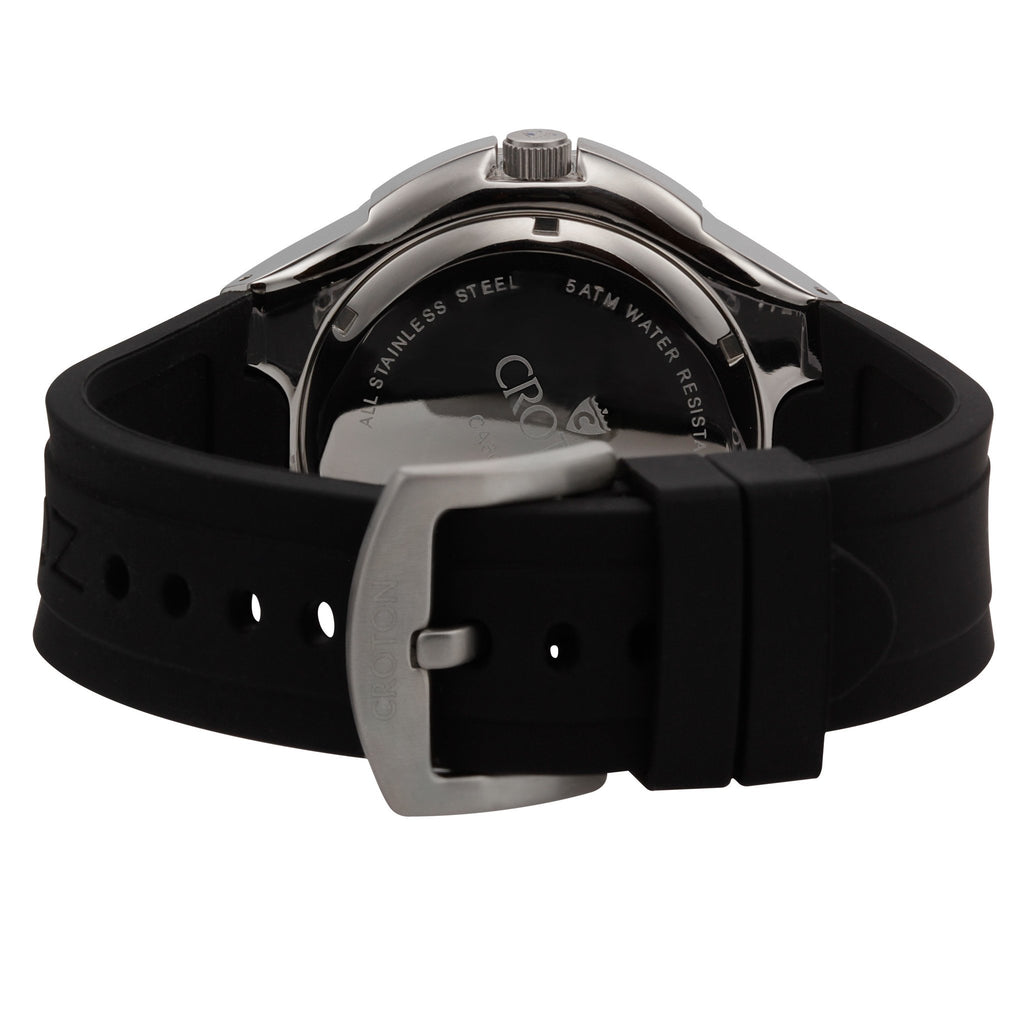 "Croton Men's ""Super C"" Stainless Steel Quartz Watch with Silicon Strap"