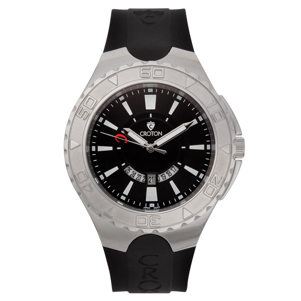 "Men's ""Super C"" Stainless Steel Quartz Watch with Black Dial & White Markers"