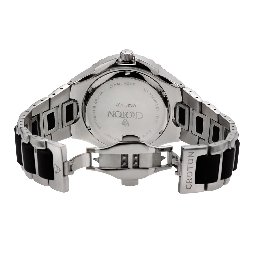 "Croton Men's ""Super C"" Quartz Watch with Stainless & Silicon Bracelet"