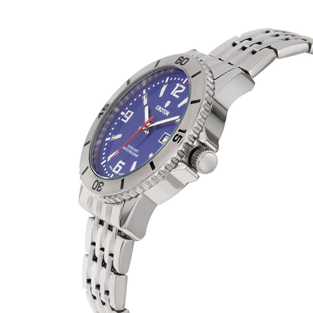"Croton Men's ""Aquamatic"" Stainless Steel Sport Watch with Date & Rotating Bezel"