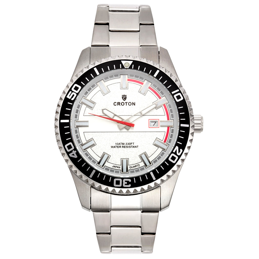 "Croton Men's ""Aquamatic"" Silvertone Stainless Watch with Rotating Bezel"