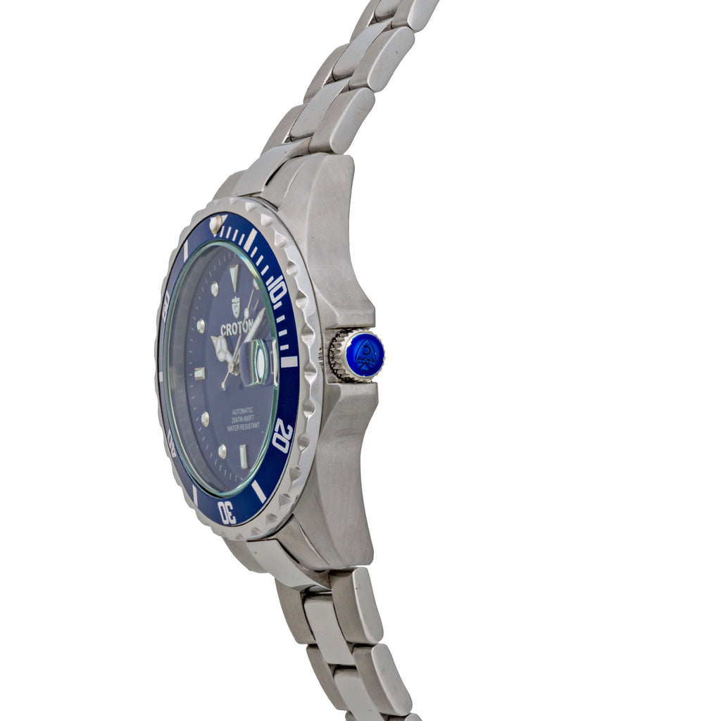 Men's All Stainless Steel Silvertone Automatic with Magnified Date & Blue Dial - CROTON GROUP