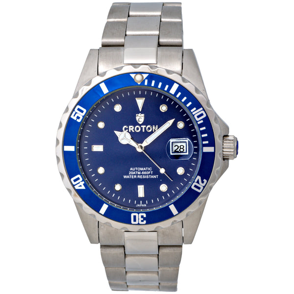 Men's All Stainless Steel Silvertone Automatic with Magnified Date & Blue Dial