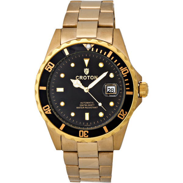 Men's All Stainless Steel Goldtone Automatic with Magnified Date & Black Dial