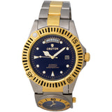 Men's Two Tone Two Time Zone Automatic & Quartz with Day/Date and Blue Dial