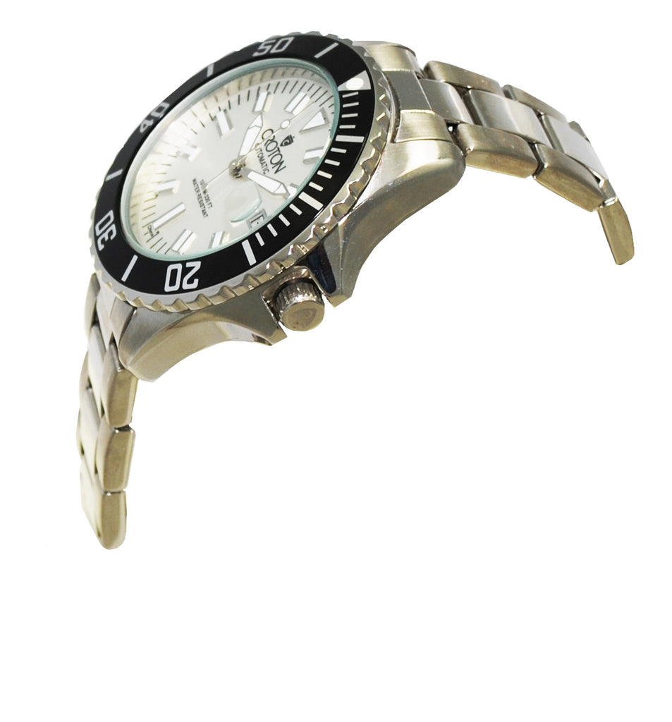 Men's All Stainless Automatic Watch with Magnified Date at 3:00