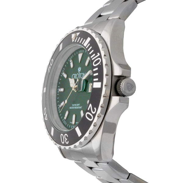 Men's Two Tone All Stainless Steel Sport Watch with Green Dial & Rotating Bezel