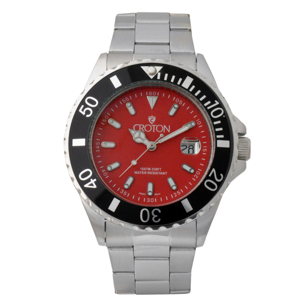 Men's Two Tone All Stainless Steel Sport Watch with Red Dial & Rotating Bezel