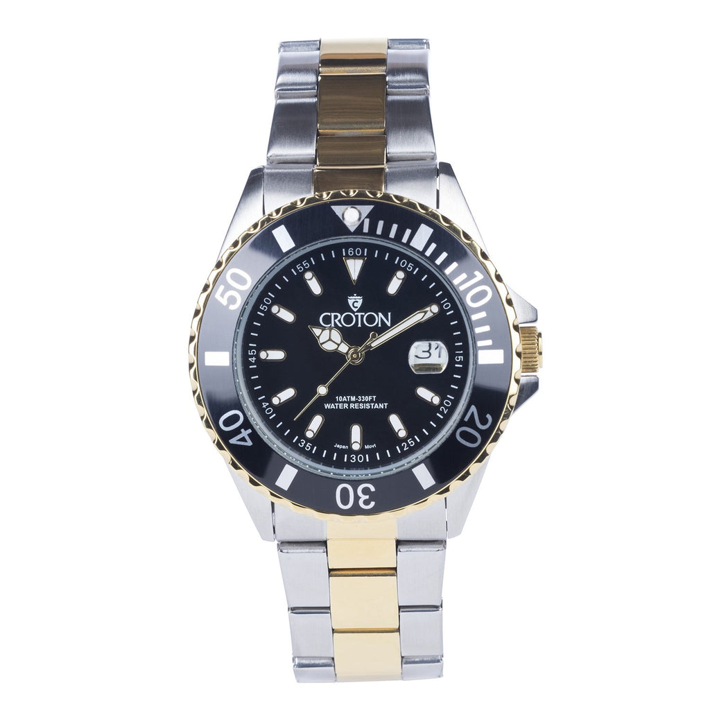 Men's Two Tone All Stainless Steel Sport Watch with Black Dial & Rotating Bezel