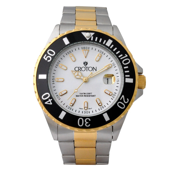 Men's Two Tone All Stainless Steel Sport Watch with White Dial & Rotating Bezel
