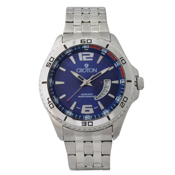 Men's Silvertone Stainless Steel Sport Watch with Date Window & Blue Dial