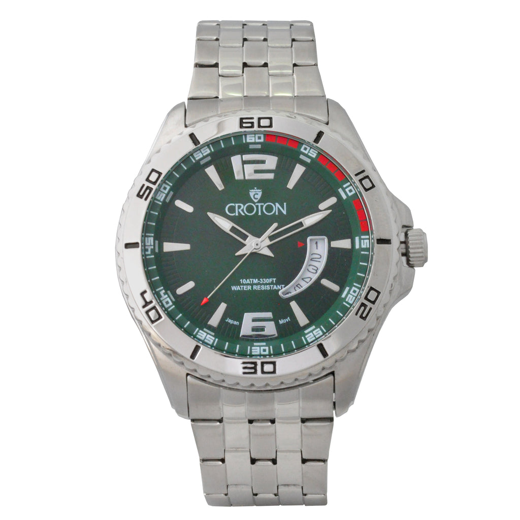 Men's Silvertone Stainless Steel Sport Watch with Date Window & Green Dial