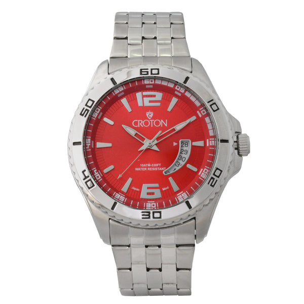 Men's Silvertone Stainless Steel Sport Watch with Date Window & Red Dial