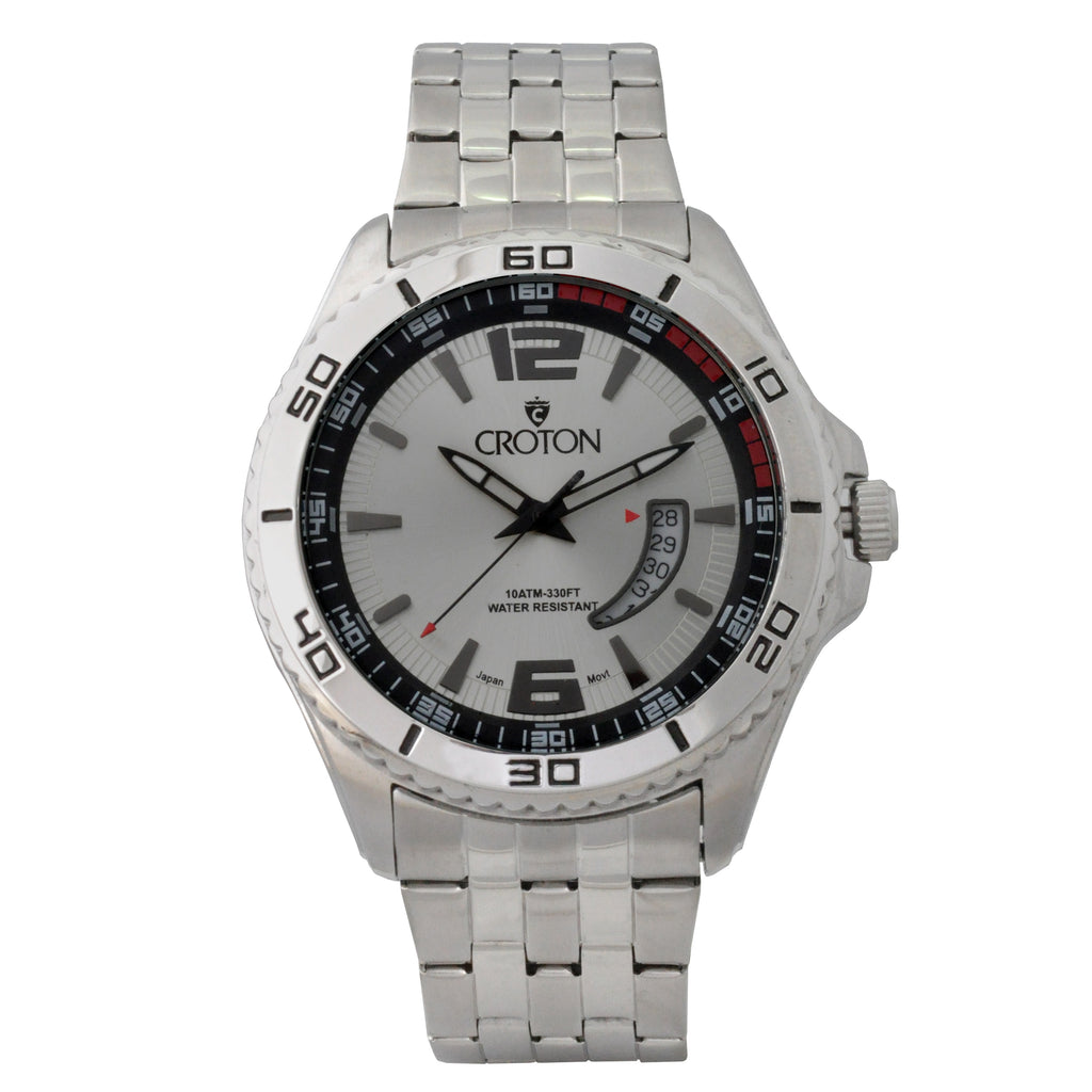 Men's Silvertone Stainless Steel Sport Watch with Date Window & Silver Dial