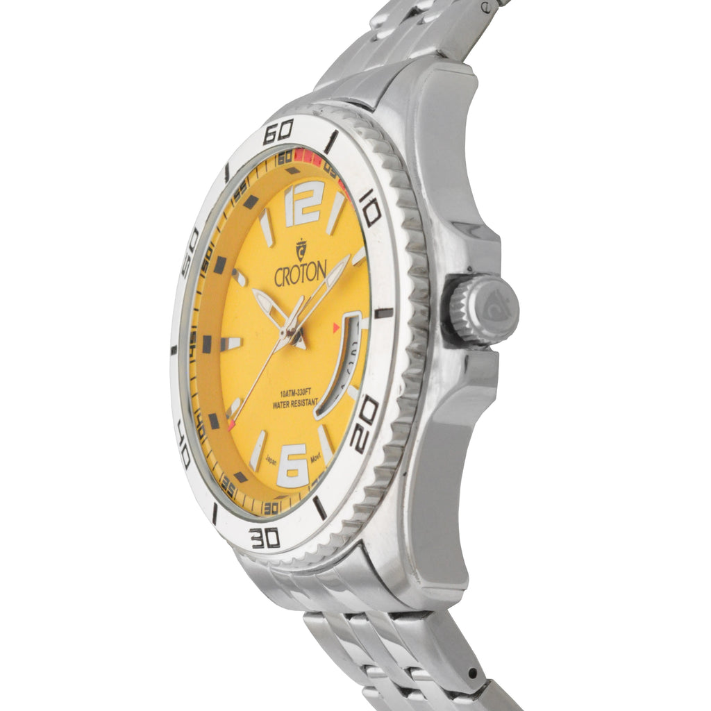 Men's Silvertone Stainless Steel Sport Watch with Date Window & Yellow Dial