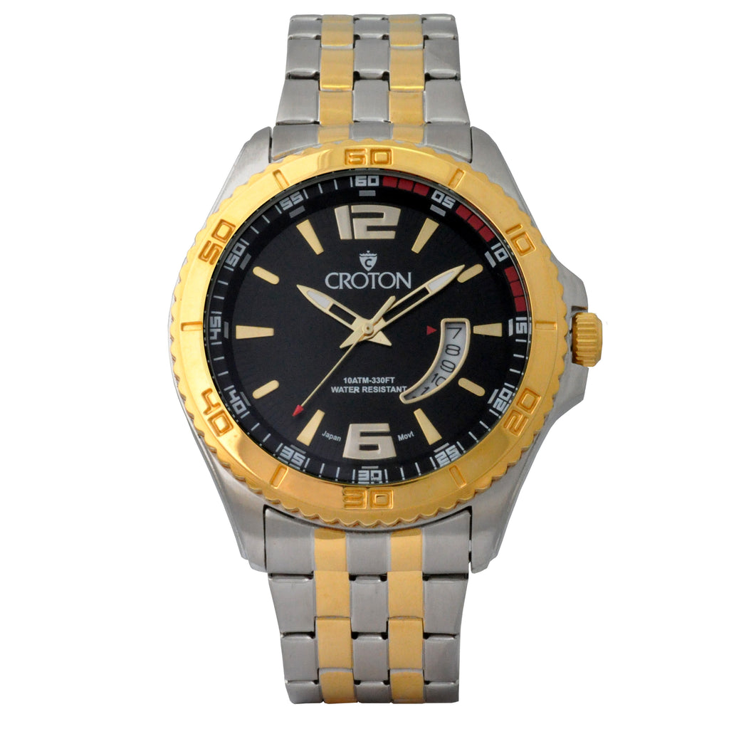 Men's Two Tone Stainless Steel Sport Watch with Date Window & Black Dial