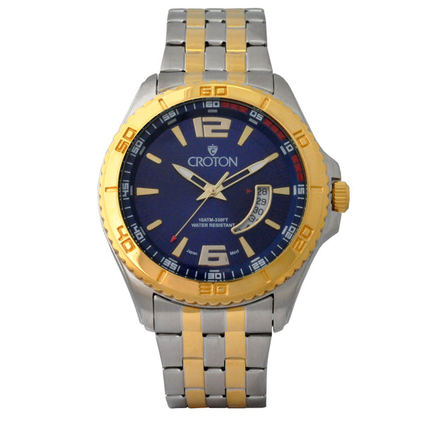 Men's Two Tone Stainless Steel Sport Watch with Date Window & Blue