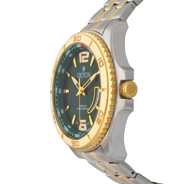 Men's Two Tone Stainless Steel Sport Watch with Date Window & Green Dial