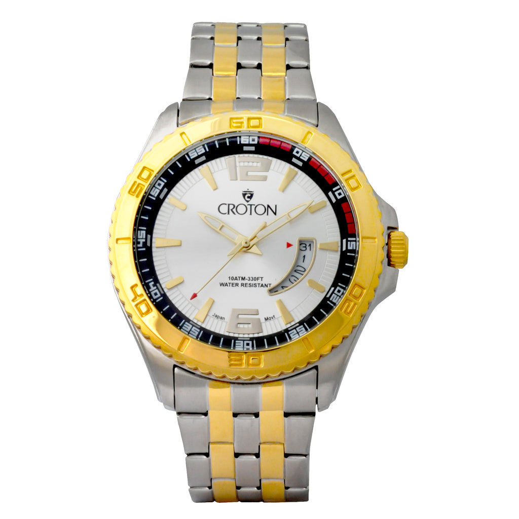 Men's Two Tone Stainless Steel Sport Watch with Date Window & Silver Dial