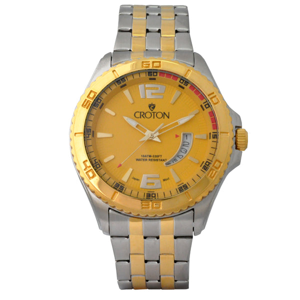 Men's Two Tone Stainless Steel Sport Watch with Date Window & Yellow Dial