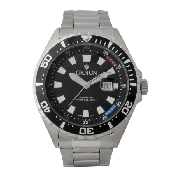 Men's All Stainless Steel Quartz Watch with Black Dial & Black Rotating Bezel