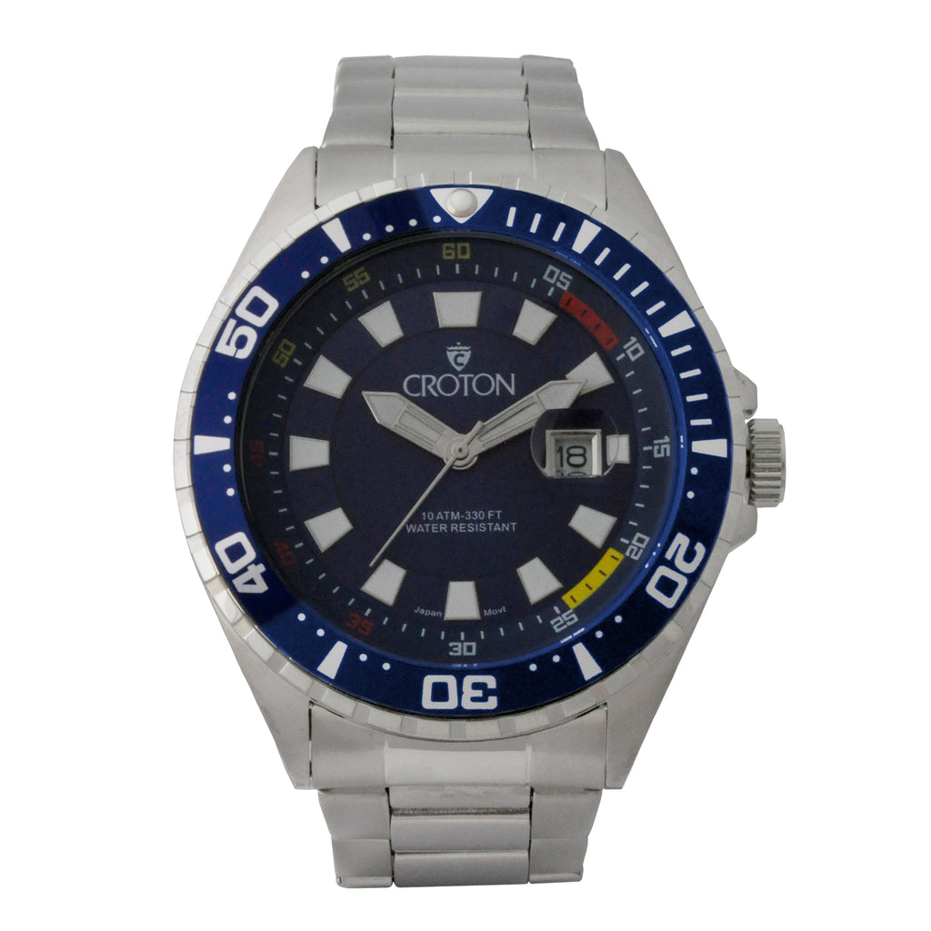 Men's All Stainless Steel Quartz Watch with Blue Dial & Blue Bezel