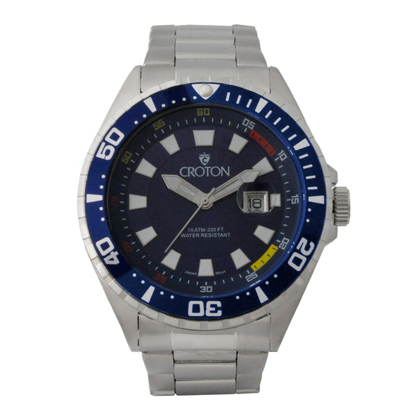Men's All Stainless Steel Quartz Watch with Blue Dial & Blue Rotating Bezel