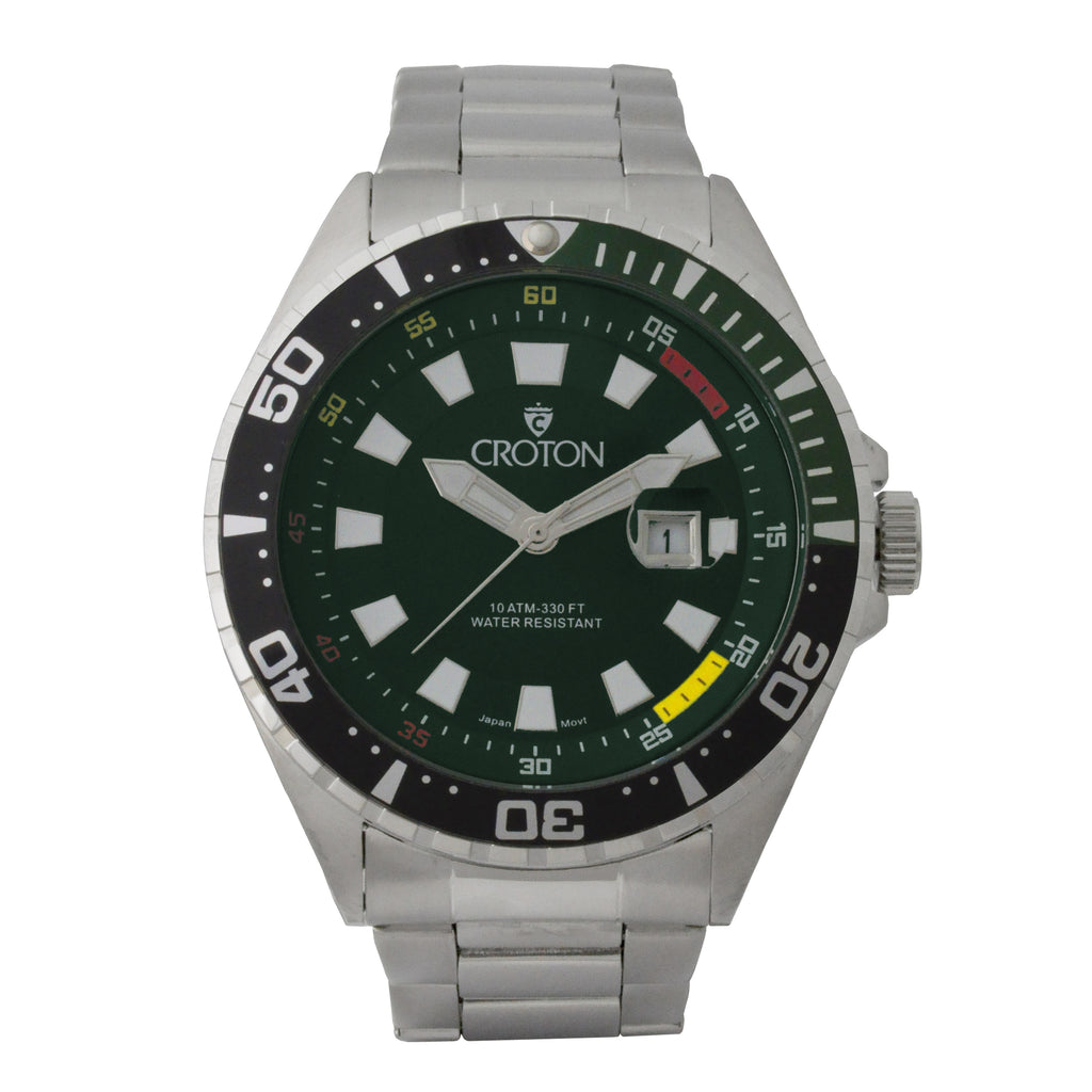 Men's All Stainless Steel Quartz Watch with Green Dial & Green Rotating Bezel