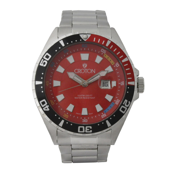 Men's All Stainless Steel Quartz Watch with Red Dial & Black & Red Rotating Bezel