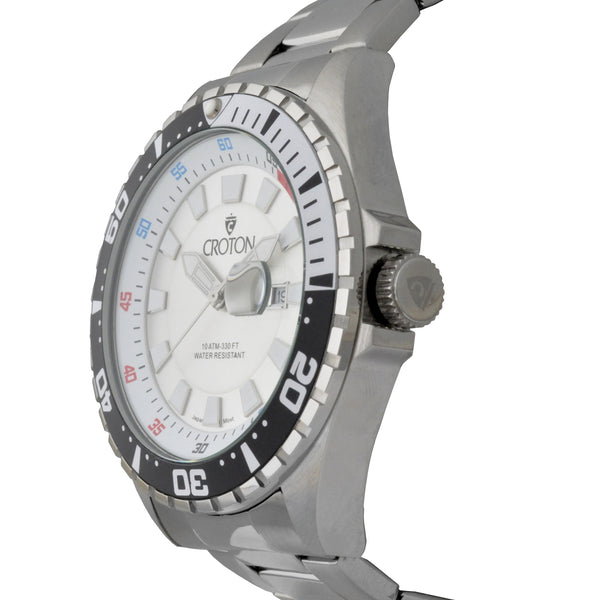 Men's All Stainless Steel Quartz Watch with Silver Dial & Black & White Rotating Bezel