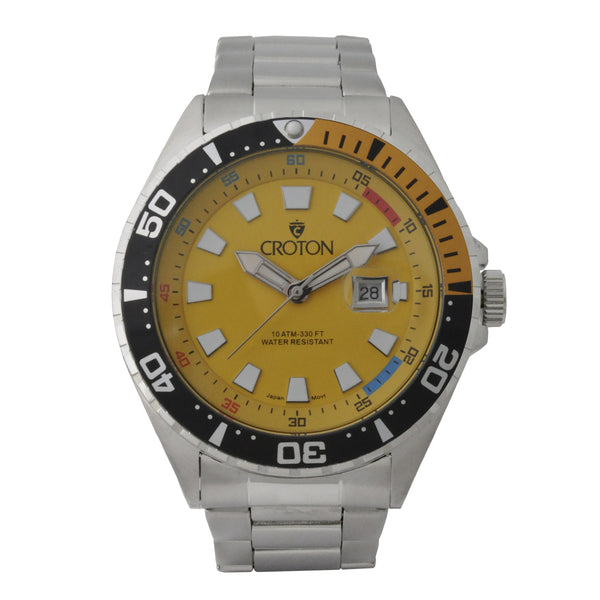 Men's All Stainless Steel Quartz Watch with Yellow Dial & Black & Orange Rotating Bezel