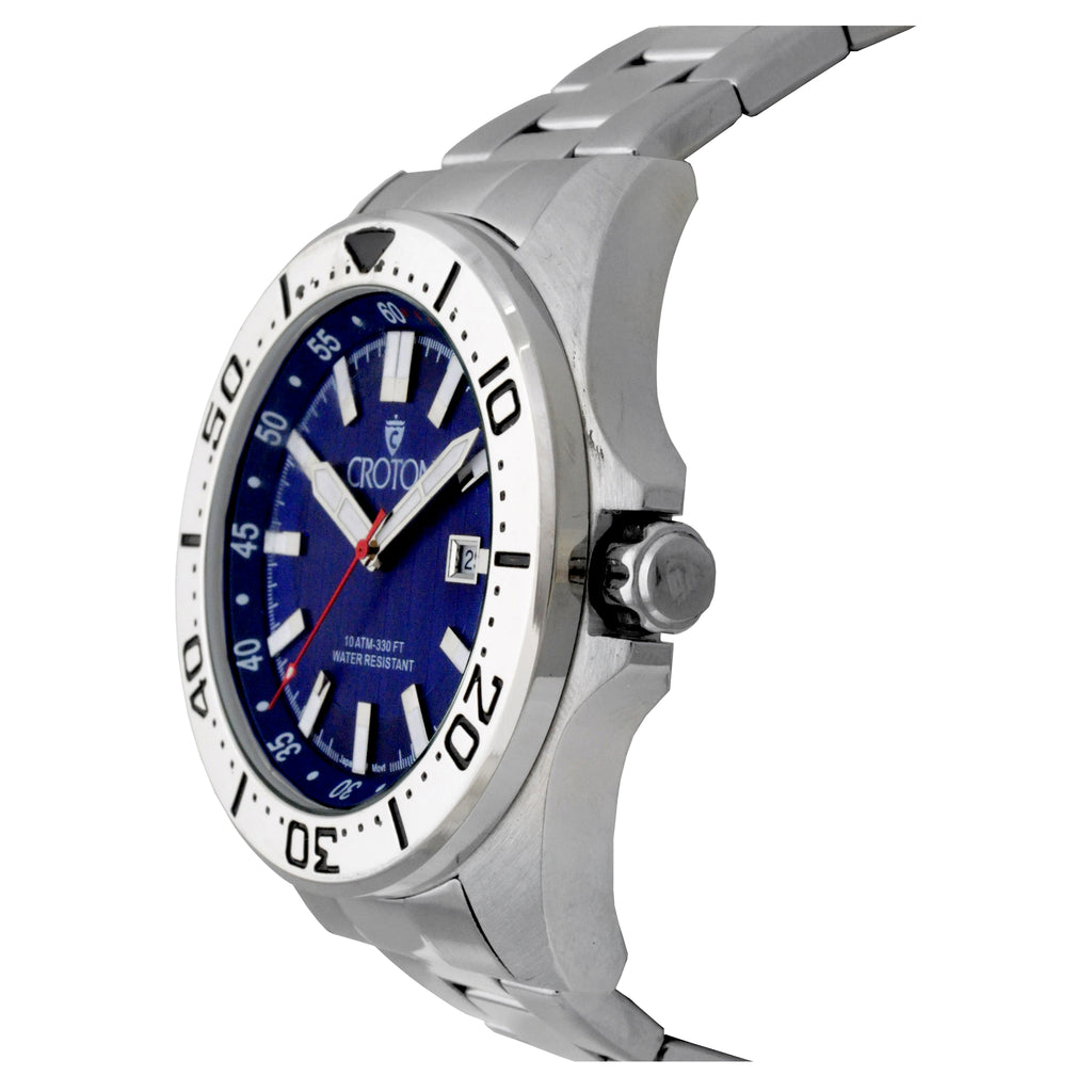 Men's All Stainless Steel Japan Quartz Watch with Blue Dial & Rotating Bezel.