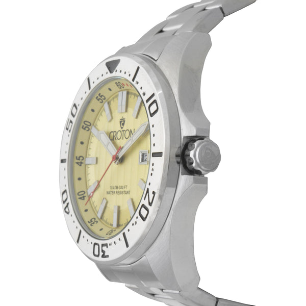 Men's All Stainless Steel Japan Quartz Watch with Pineapple Dial & Rotating Bezel.