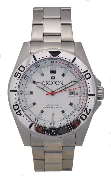 Men's All Stainless Steel Japan Quartz Watch with Silver Dial & Rotating Bezel.