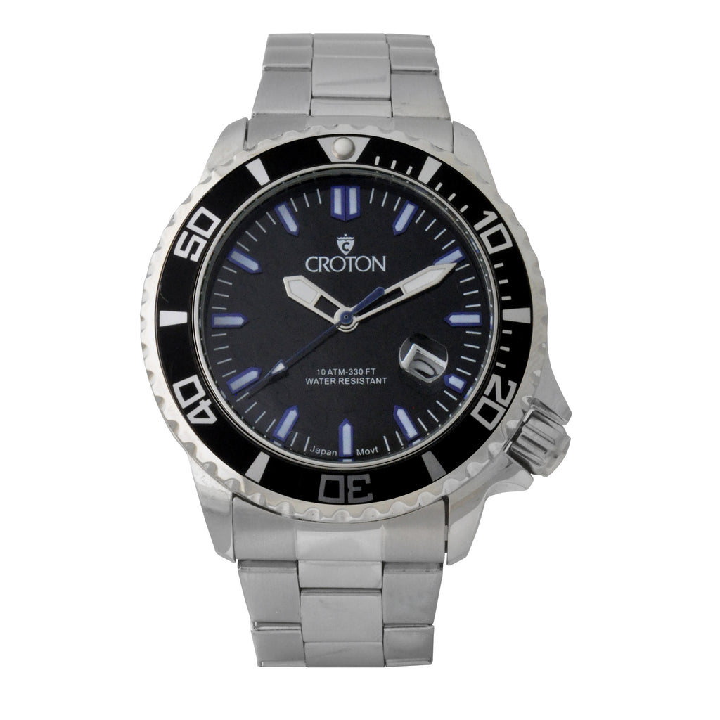 Men's All Stainless Steel Quartz Watch with Blue Second Hand & Coordinated Markers