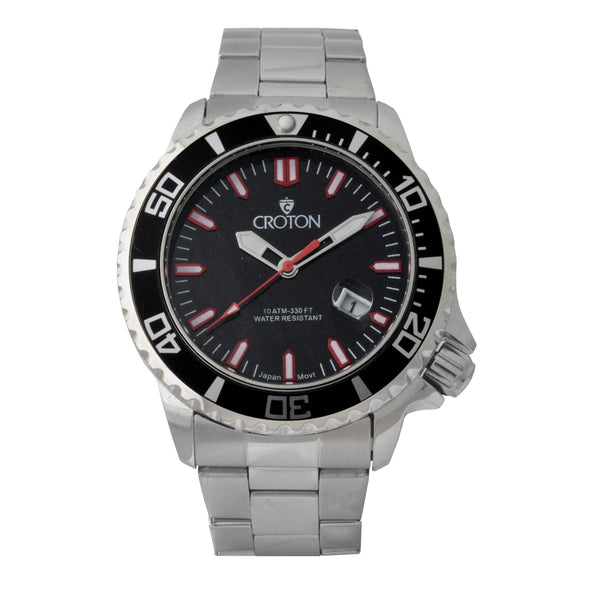Men's All Stainless Steel Quartz Watch with Red Second Hand & Coordinated Markers