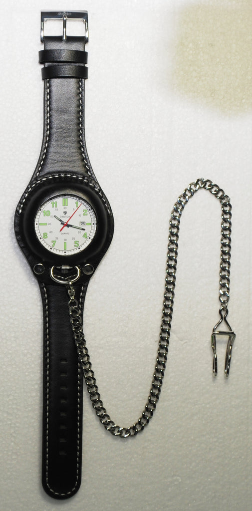 Men's Removable Pewter Pocket Watch with Chain & Black Strap