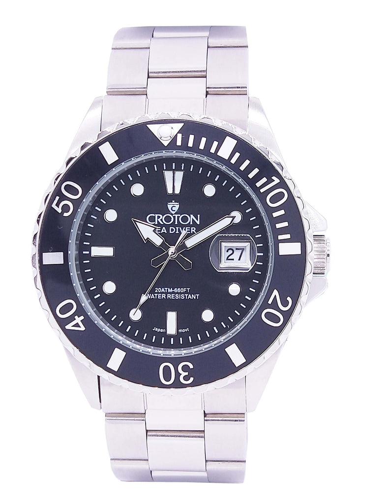 SeaDiver Gents 20 ATM Divers Watch with Black Dial - CROTON GROUP