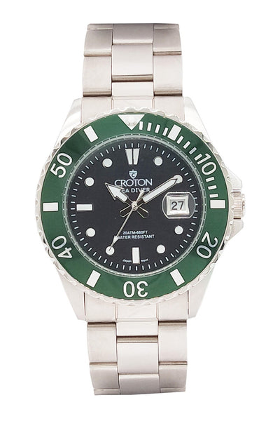 SeaDiver Gents 20 ATM Divers Watch with Green & Black Dial