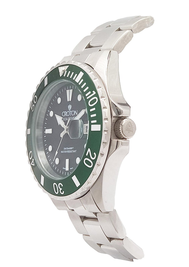 SeaDiver Gents 20 ATM Divers Watch with Green & Black Dial - CROTON GROUP