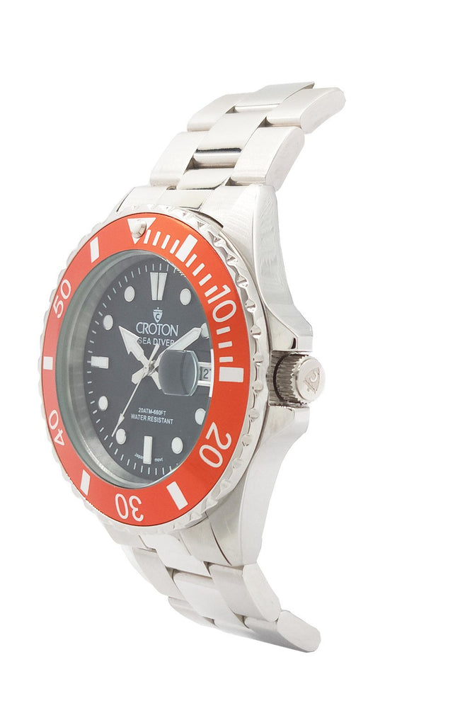 SeaDiver Gents 20 ATM Divers Watch with Orange & Black Dial