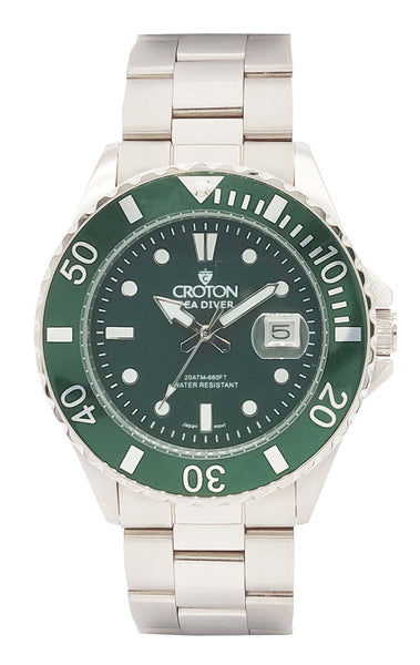 SeaDiver Gents 20 ATM Divers Watch with All Green Dial